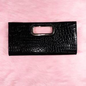giannini genuine faux leather black clutch